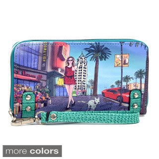 Hollywood Print Studded Zip-around Wallet