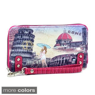 Rome Print Studded Zip-around Wallet