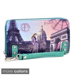 Paris Print Studded Zip-around Wallet