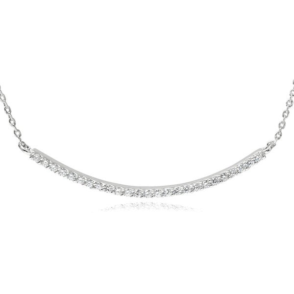 Journee Collection Cubic Zirconia Curved Bar Pendant