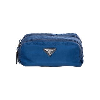 Prada 'Vela' Blue Double Zippered Cosmetic Case