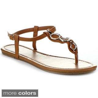 Top Moda Women's 'Lucy-6' T-strap Flat Sandals