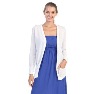 Hadari Women's Basic White Cardigan