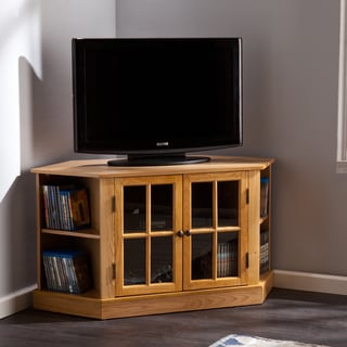 Upton Home Thompson Natural Oak Corner TV/ Media Stand