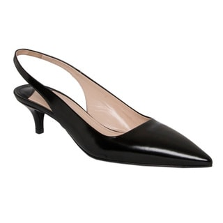 Prada Women's Black Spazzolato Leather Slingback Pumps