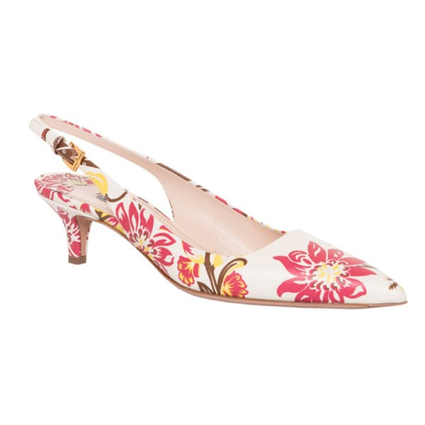 Prada Floral Printed Leather Point-toe Slingbacks