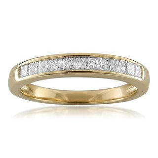 Brides Across America 14k Yellow Gold 1/2ct TDW Princess-cut Diamond Channel Wedding Band (H-I, I1)