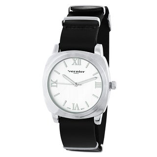 Vernier Paris Women's Genuine Black Leather Campus Sleeve Watch