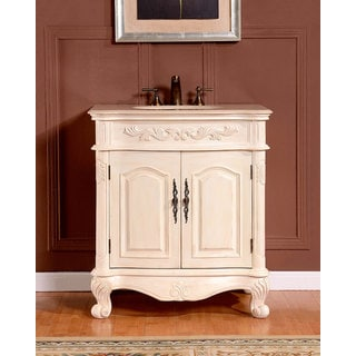 Silkroad Exclusive 32-inch Crema Marfil Marble Single Sink Bathroom Vanity