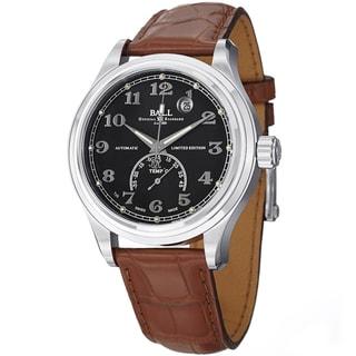 Ball Men's NT1050D-LJ-BKC 'Trainmaster Celsius' Black Dial Brown Leather Strap Watch