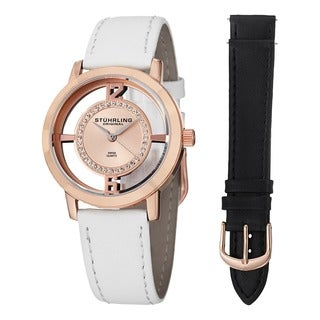 Stuhrling Originals Women's Lady Edinburgh Swiss Quartz Leather Strap Watch Set