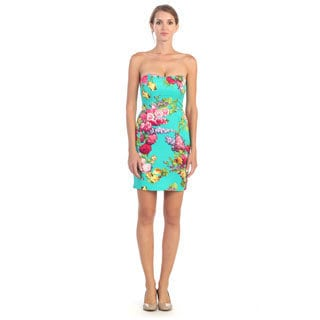 Hadari Women's Strapless Sweetheart Floral Dress