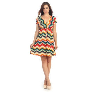 Hadari Women's Multi-colored V-neck Sleeveless Dress