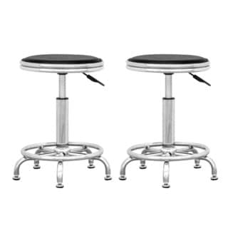 CorLiving Adjustable Black Leatherette Office Stool (Pack of 2)