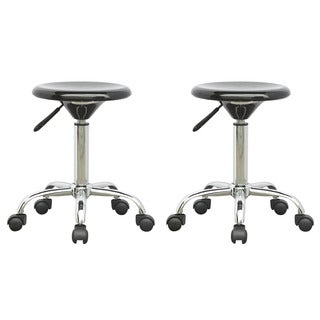 CorLiving Adjustable Glossy Black Office Stool (Pack of 2)