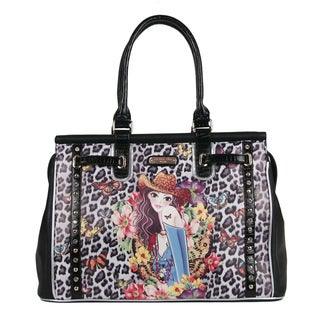 Nicole Lee Sandra Black Print Carry-on Overnight Tote Bag