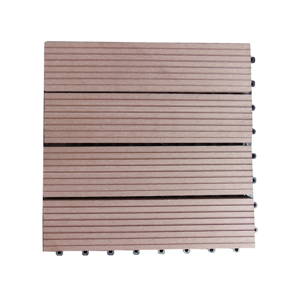 Century Outdoor Living Composite Interlocking Walnut Brown Deck Tiles