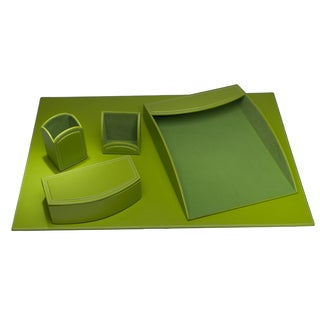 Lime Green Leatherette 5-piece Desk Set