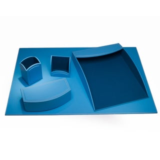 Sky Blue Leatherette 5-piece Desk Set