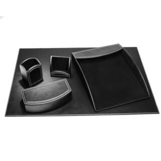 Midnight Black Leatherette 5-piece Desk Set