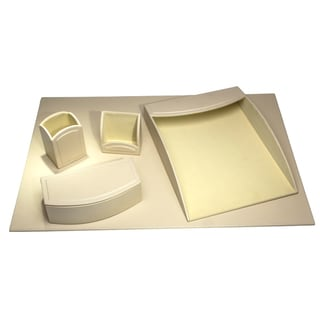 Sandy Tan Leatherette 5-piece Desk Set