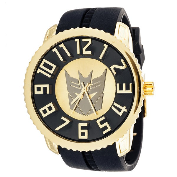 Transformers Decepticon Sporty Fashion Jumbo Goldtone Watch