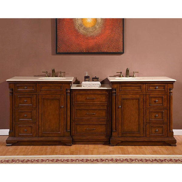 95 inch stone counter top bathroom vanity lavatory double sink cabinet