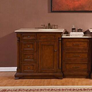 Silkroad Exclusive 57-inch Creamy Marble Counter Top Bathroom Single Vanity Cabinet (Right Sink)