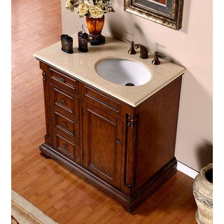 Silkroad Exclusive 36-inch Crema Marfil Marble Top Bathroom Vanity (Right Sink)