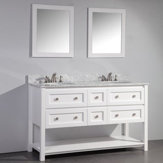 White Finish Marble Top 60-inch Double Sink Bathroom Vanity with Dual Matching Framed Mirrors