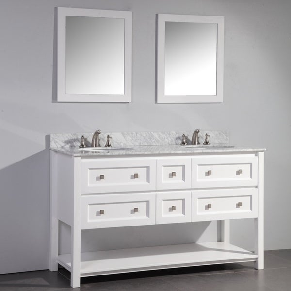White Finish Marble Top 60 Inch Double Sink Bathroom Vanity With Dual Matchin