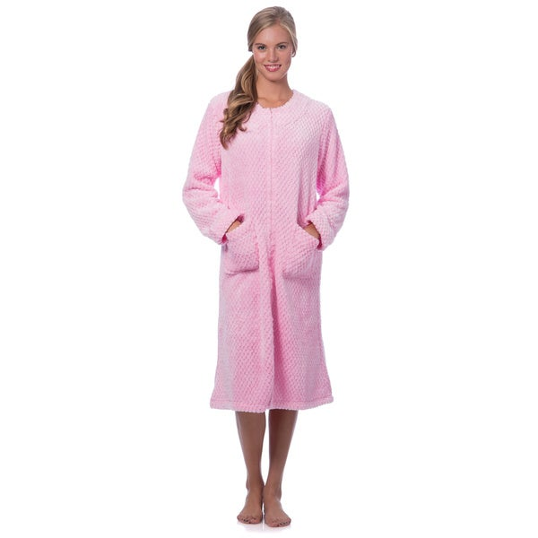 Plush robe with zipper