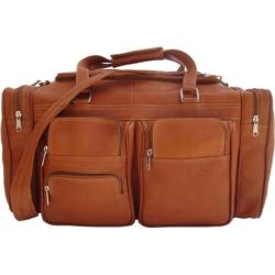 Piel Leather 20in Duffel Bag With Pockets 7720 Saddle Leather