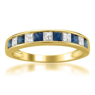 14k Yellow Gold 2/5ct TDW Diamond/ Sapphire Princess-cut Channel Wedding Band (H-I, I1-I2)