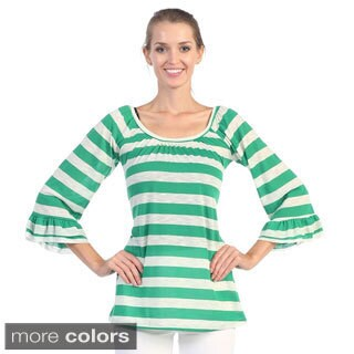 Hadari Women's Striped Butterfly Sleeve Top