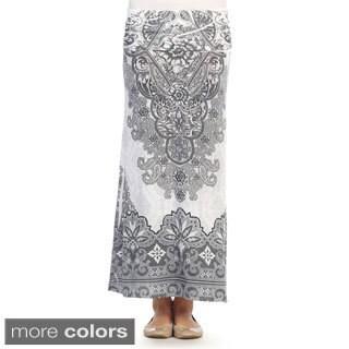 Hadari Women's Vintage Print Fold-over Maxi Skirt