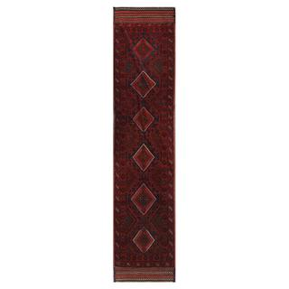 Herat Oriental Afghan Hand-knotted Tribal Balouchi Navy/ Red Wool Rug (2' x 8'8)