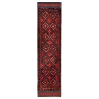 Herat Oriental Afghan Hand-knotted Tribal Balouchi Navy/ Red Wool Rug (1'11 x 8'10)