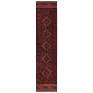 Herat Oriental Afghan Hand-knotted Tribal Balouchi Red/ Navy Wool Runner (1'11 x 8'7)
