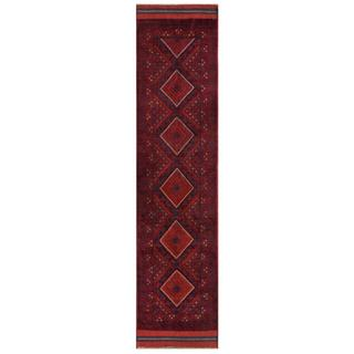 Herat Oriental Afghan Hand-knotted Tribal Balouchi Red/ Navy Wool Runner (1'11 x 8'8)