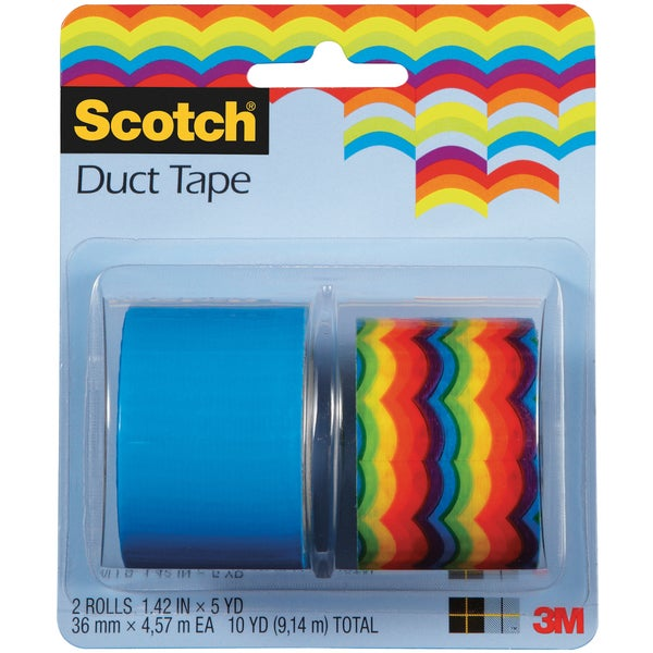 "Scotch Duct Tape 1.42""X5yd 2 Rolls/Pkg-Rainbow Scallops And Solid Sea Blue"