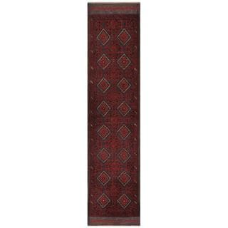 Herat Oriental Afghan Hand-knotted Tribal Balouchi Red/ Navy Wool Runner (1'10 x 8'9)