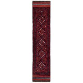 Herat Oriental Afghan Hand-knotted Tribal Balouchi Red/ Navy Wool Runner (1'8 x 8'9)