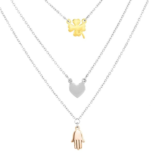 ELYA Stainless Steel Clover, Heart and Hamsa Layered Charm Necklace