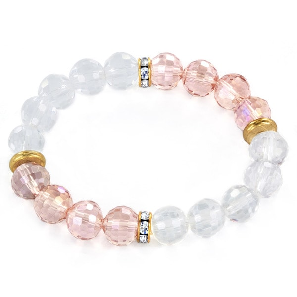 Pink and Clear Faceted Glass Bead Stretch Bracelet