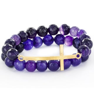 Purple Agate and Goldtone Sideways Cross Stretch Bracelet (Set of 2)
