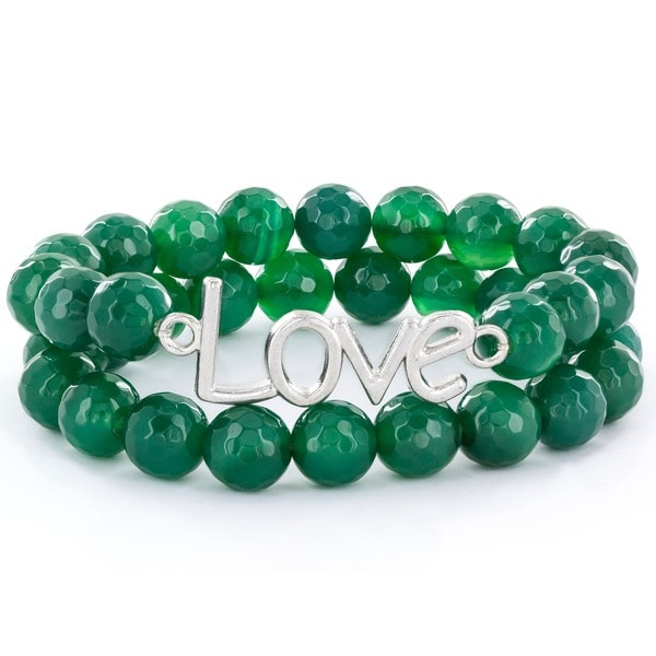 Green Faceted Agate Bead Stretch Bracelet