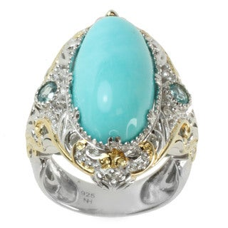 Michael Valitutti Two-tone Mexican Turquoise, Apatite and White Sapphire Ring