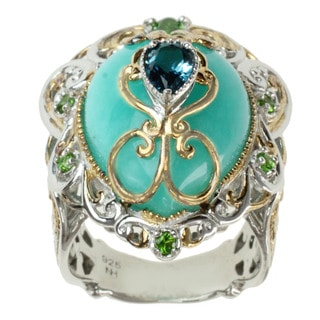 Michael Valitutti Two-tone Amazonite, London Blue Topaz and Chrome Diopside Ring