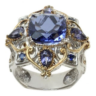 Michael Valitutti Two-tone Quartz Doublet, Iolite and Blue Sapphire Ring